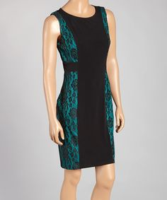 Love this En Focus Studio Black & Green Floral Sheath Dress - Women by En Focus Studio on #zulily! #zulilyfinds