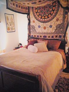 Mandala tapestry bedroom ideas the over my bed canopy crafty in Wood Canopy Bed, Canopy Bedroom, Tapestry Bedroom, Diy Canopy, Bedroom Ceiling, Canopy Outdoor, Bedroom Decor, Master Bedroom, Bedroom Ideas