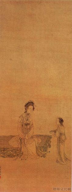 《白描仕女图》清 华喦 纸本墨色 纵81.4厘米 横32厘米北京故宫博物院藏     华喦的谷物画,内容多描写平凡而丰富的现实生活与社会现象。他远师李公麟及明季诸家,中年以后取浊陈洪绶,在创作中观察细致,注重人物内心刻划及线描的运用,使作品被赋予了极强的艺术表现与感染力。《白描仕女图》属早年白描仕女,工细谨严,一丝不苟。