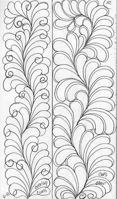 Here is a basic curvy spine...     with different designs           Left Feather .....Whimsical     Right Feather ....Formal            ...