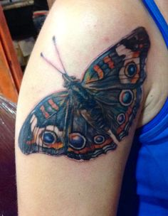 1st of my 4 butterfly tattoos.  This is the Buckeye Butterfly. - realistic butterfly tattoo