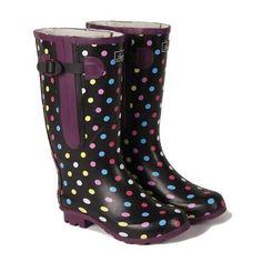 boots: Extra Wide Calf Spotty Rubber Rain Boots: up to 21 inch calf Cute Rain Boots, Rubber Rain Boots, Wide Fit Wellies, Wide Shoes, Wide Calf Boots, Cheap Shoes, Calves, Shoe Boots, Rain Coats