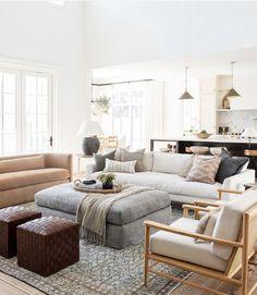 Living Room Furniture Layout, Living Room Designs, Home Furniture, Living Room Ottoman Ideas, Living Room Layouts, Ottoman Decor, Upholstered Ottoman, Home Living Room, Living Room Decor