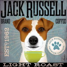 Jack Russell Coffee company vintage style graphic artwork on canvas 12 x 12 by stephen fowler. $80.00, via Etsy.