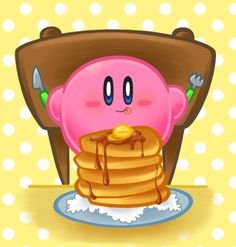 Kirby eating pancakes by ~SakikoAmana on deviantART.