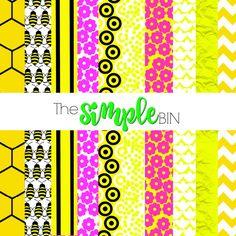 Honey Bee Scrapbook Paper  Digital Paper Pack  by TheSimpleBin