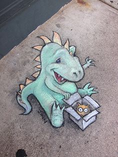 Temporary SIdewalk Art by David Zinn, via Behance 3d Street Art, Amazing Street Art, Street Art Graffiti, Street Artists, Graffiti Artists, David Zinn, Chalk Artist, 3d Chalk Art, Art 3d