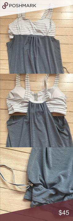 Lululemon Top Adorable top from Lulu.. no longer sold in stores! It had an adjustable waistband and a built in bra. This top is super flattering and comfortable! It's also in great condition. It's a size 6 but can easily fit a 2 or 4 as well. lululemon athletica Tops Tank Tops