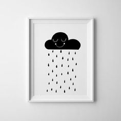 Smiling Black and white rain cloud art for kids room. baby nursery print and wall art, scandinavian, nursery decor