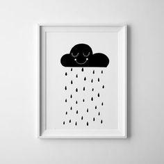 Smiling Black and white rain cloud art for kids room. baby nursery print and wall art, scandinavian, nursery decor