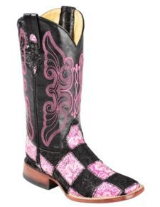 Ferrini Black & Pink Glitter Patchwork Cowgirl Boots - Square Toe