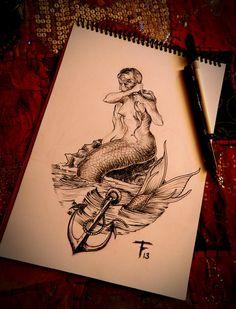 mermaid tattoo illustrations - Google Search