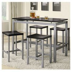 Features:  -Clean lines and smooth straight edges.  -Compatible with levelers: Yes.  Product Type: -Pub table set.  Table Base Type: -Legs.  Table Shape: -Rectangle.  Style (Old): -Contemporary.  Tabl