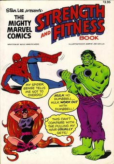 """The 10 Funniest Exercises From Marvel Comics' Weird Fitness Book (Gallery at link). Published in 1976, the """"Strength and Fitness Book."""""""