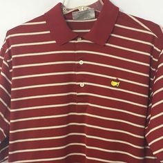 Men's M Augusta National Masters Polo Shirt Golf Shop Red White Striped #AugustaNationalGolfShop #PoloRugby