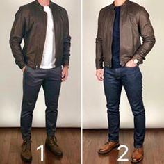 Boots and Leather Jacket 🥾🥾🔥🔥 Which outfit would you wear today❓ Boots left: Tobacco President Boots right: Brandy Captain Jacket: no longer in stock Image may contain: one or more people, people standing and shoes How to beat the Monday blu Stylish Men, Men Casual, Casual Wear, Mode Man, Formal Men Outfit, Style Masculin, Herren Style, Herren Outfit, Fashion Mode