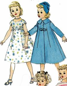 2745 Doll Clothes pattern for 21 inch Miss Revlon, Toni, Cissy & Dollikin. A 1950s doll clothes pattern.