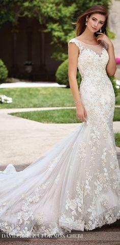 Dropped Waistline Wedding Dress by David Tutera for Mon Cheri Spring 2017