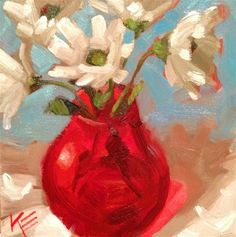 """Daily Paintworks - """"Daisies in red"""" - Original Fine Art for Sale - © Krista Eaton"""