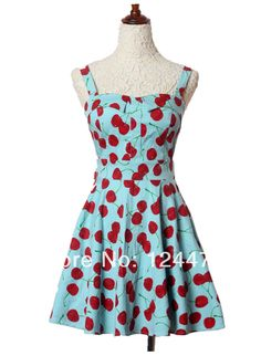 2014 new blue&white vintage cherry rockabilly pin up swing tank ...