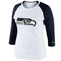 Nike Seattle Seahawks Ladies Raglan Three-Quarter Sleeve Tri-Blend T-Shirt - White/Steel Blue