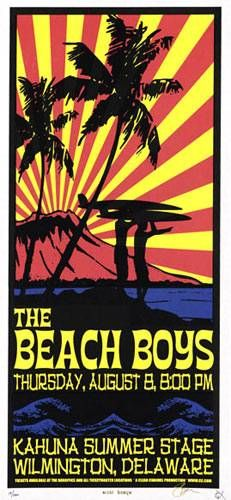 Beach Boys Kahuna Summer Stage Artist: Scott Benge (FGX) AoMR Silkscreen Edition of 200 10 x 21 inches - design inspiration Tour Posters, Band Posters, Music Posters, Vintage Concert Posters, Vintage Posters, Norman Rockwell, Woodstock, The Ventures, Music Flyer