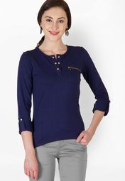 MySin Navy Blue Solid Top Online Shopping Store