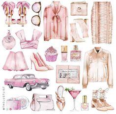 Illustration Mode, Illustrations, Watercolor Illustration, Watercolor Art, Arte Fashion, Fashion Design, Perfect Pink, Grafik Design, Art Plastique