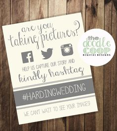 Hashtag Print- Wedding Instagram Facebook Twitter- Printable Art- Beige and Gray on Etsy, $8.00