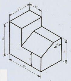 AcadMatCteII: Trabajos a realizar sobre Proyecciones Ortogonales Isometric Drawing Exercises, Autocad Isometric Drawing, Isometric Design, Orthographic Projection, Orthographic Drawing, Geometric Shapes Design, Geometric Drawing, Civil Drawing, Graph Paper Drawings