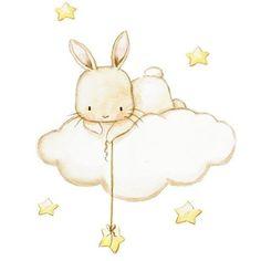 Baby Animal Drawings, Cute Drawings, Bunny Nursery, Nursery Art, Scrapbook Background, Cute Whales, Diy Bebe, Baby Painting, Bunny Art