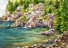 Cliffs of Lubec. Watercolor on board 5x7