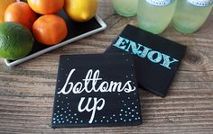 DIY Chalkboard Paint Coasters | Darby Smart | Hostess Decor