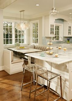 Alluring White Island using Marble Top near Counter Height Dining Set with Grey Tufted Benches