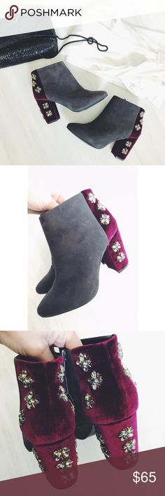 {Anthropologie} Faryl Robin Jeweled Suede Booties These are the perf cat statement boots for the holiday season! Pair with a LBD and some bling for a holiday party or dress up a pair of cuffed jeans and a chunky sweater! Faux suede upper and a velvet heel with gorgeous bejeweled detailing. Tags not attached, but practically brand new condition! Faryl Robin is sold in both Anthropologie and Free People. Anthropologie Shoes Ankle Boots & Booties