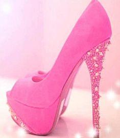 Pink platform high heels with bling