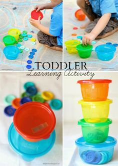 Sorting colorful buttons in containers: Activity to Strengthen Toddler's Fine Motor Skills