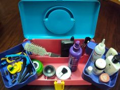 empty personal care items and different applicators and hair clips for a spa dramatic play kit.