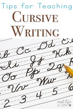 Tips for Teaching Cursive Writing as well as why its a great idea to teach cursive writing first Real Life at Home Teaching Cursive Writing, Writing Lessons, Writing Skills, Writing Activities, Writing Tips, Writing Prompts, Learning Cursive, Cursive Writing Worksheets, Teaching Handwriting