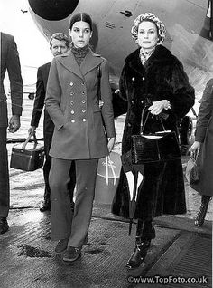 Princess Grace of Monaco, with her trouser suited daughter Caroline looking very chic for her 14 years,  arrive at Heathrow airport. They are to attend the Ideal Home exhibition at Olympia.16th March 1971.