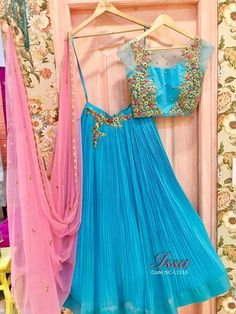 SC-L1110 : Pretty sea blue pleated lehenga!!We can customize the colour size as per your requirement.To order please call/ WhatsApp on 9949944178 or mail us @issadesignerstudio@gmail.com 14 December 2016