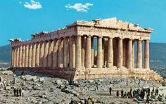 Partenon na Akropolu ateńskim - V w p.n.e. świątynia poświęcona Atenie Partenos (Dziewicy); porządek dorycki (+ 4 kolumny jońskie i fryz panatenajski) korekcje optyczne