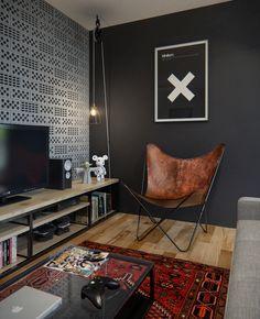foorni.pl   Mieszkanie programisty , czarna ściana, tapeta, wzory na ścianie