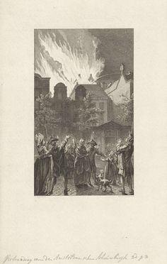 Reinier Vinkeles | Brand van de Amsterdamse Schouwburg, 1772, Reinier Vinkeles, 1786 | De uitslaande brand in de Amsterdamse Schouwburg op de Keizersgracht op 11 mei 1772. Gezien vanaf de overzijde van de Keizersgracht, tussen toeschouwers.
