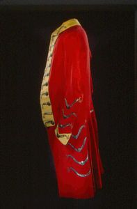 Red wool coat worn by British Loyalist Lieutenant Eli Dagworthy of the 44th Regiment of Foot. The redcoat was the symbol of British influence and oppression in colonial America after the French and Indian War.