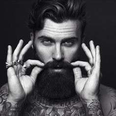 Levi Stocke - great portrait black and white photography full thick beard beards bearded man men tattoos tattooed handsome #beardsforever