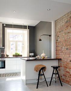Kleine keuken kookeiland mooie kleuren