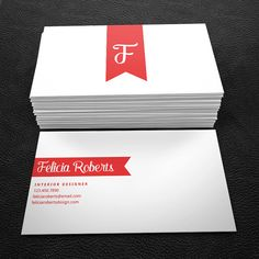 Red and white ribbon premade business card by Brandi Lea Designs on Etsy https://www.etsy.com/listing/233821052/premade-business-card-design-print-ready