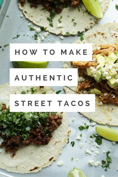 Authentic Street Tacos for your best Taco Tuesday. or Wednesday. or Thursday. everyone loves tacos. Mexican Dishes, Mexican Food Recipes, Beef Recipes, Dinner Recipes, Cooking Recipes, Healthy Recipes, Ethnic Recipes, Spinach Recipes, Cooking Tips