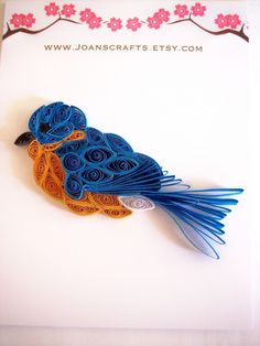 Mini Quilled Bluebird by joanscrafts on Etsy, $9.00